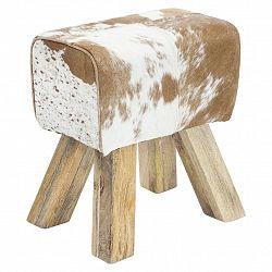 Taburet Hocker Pravá Kůže/dřevo